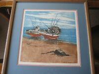 """Lupe Chown """"Awaiting The Tide"""" Limited Edition, Signed Aquatint Lithograph Print"""