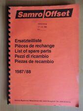 Ersatzteilliste Samro Offset Kartoffel-Vollernter Ausgabe 1987/88 parts list