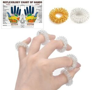 2 x Finger Massage Ring Gold Silber Akupressur Durchblutung Gesundheit Wellness