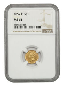 1857-C G$1 NGC MS61 - Low Mintage Charlotte Issue - 1 Gold Coin