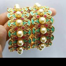 *UK SELLER* 2pc Antique Gold Bangle Indian Bollywood Polki Jewelry size 2.8