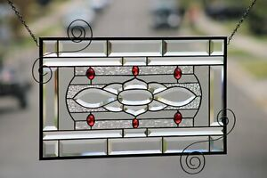 """Ruby-Beveled Stained Glass Window Panel- Hanging ≈23 ½"""" x 13 ½"""""""
