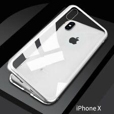 Magnetic Adsorption Metal Case for iPhone X XS Max 7 8 Plus Tempered Glass Cover