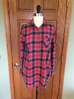 J Crew Navy Red Plaid Tunic With Pocket Sz S Blue Pink Shirt Blouse Top