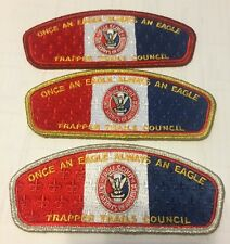 BSA CSP Trapper Trails Council Eagle Honor lot 3 silver, gold, and red border
