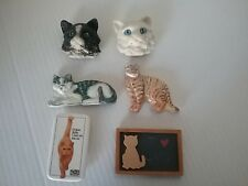 """Mixed Lot of 6 Vintage Collectable Cat Refrigerator Magnets 2""""& 3"""" in Size"""