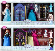Disney Store FROZEN ELSA & ANNA Wardrobe Costume Mini Doll Sets with Olaf NEW