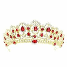 Crystal Tiara Crown Bridal Hair Accessories Pageant Rhinestone Prom (Gold-red)