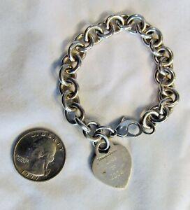 Genuine Tiffany & Co Sterling Silver 925 Love Heart Charm Bracelet 36 Grams
