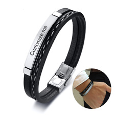 Kunstlederarmband Edelstahl Armband für Männer Herren Damen silber schwarz