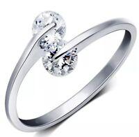 Ring Swarowski Zirkonia Silber größenverstellbar Verlobung Hochzeit Open Offen