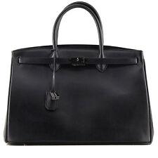 ROUVEN Black Schwarz SO DARK ICONE CITY BOX 40 Glattleder Tote Bag Tasche