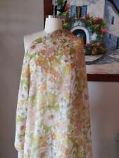 Silk Cotton Blend Fabric Floral Yellow Remnant Designer DIY Material