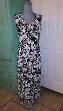 DENIM & COMPANY, STRETCHY, SLEEVELESS, BLACK AND WHITE FLORAL MAXI DRESS, SM