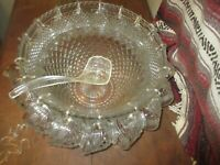 "old glass crystal 14"" punch bowl 17 glasses, hooks"