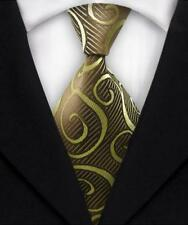 New Classic Paisley WOVEN JACQUARD Silk Men's Suits Tie Necktie Brown Yellow