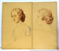 Vintage Ladies Portraits Colored Pencil Drawings Dated 1932