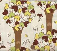Chirp green brown trees leaves childrens Kaufman fabric