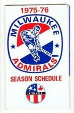 MILWAUKEE ADMIRALS minor league hockey ~ 1975-76 Pocket Schedule