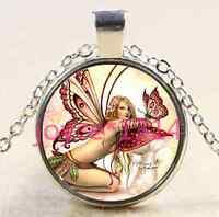 Butterfly Fairy Cabochon Tibetan silver Glass Chain Pendant Necklace@XP-2562