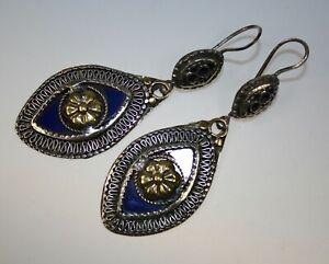 Große ethnische Ohrringe im afghanischen Stil, Blaue Hippie Boho Ohrringe
