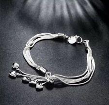 New Women's Fashion Jewelry Silver Plated Tassel Heart Bangle Bracelet 30-2