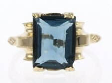 Ladies Vintage London Blue Topaz Ring in 10 Kt Yellow Gold