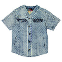 Mens Smoke Rise Denim Baseball Shirt Light Blue