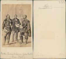 Victor Emmanuel, Cavour, Garibaldi CDV vintage albumen. d'après
