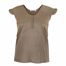 JIL SANDER brown silk a-line button-front shirt ruffle sleeve blouse top 34-F/2