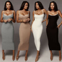 UK Women Slim Sexy Bodycon Dress Ladies Party Cocktail Holiday Casual Midi Dress