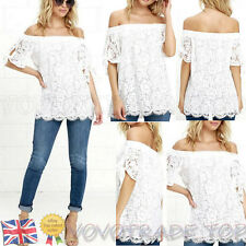 UK Sexy Summer Women Lace Off Shoulder Strapless T Shirt Blouse Lace Loose Tops