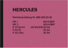 Hercules K 50 Sprint RL Ultra MK 1 2 Bedienungsanleitung Betriebsanleitung K50