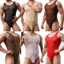 Men's One-Piece Stretch Bodysuit Leotard Sheath Closed Brief Underwear Shirt Top