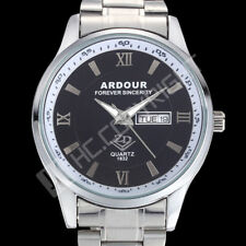 Elegant Black Dial Silver Stainless Steel Band Date Day Quartz Analog Mens Watch
