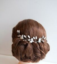 Bridal Boho Leaves Hair Vine Rhinestone Pin Head Accessory HairComb Wedding Comb