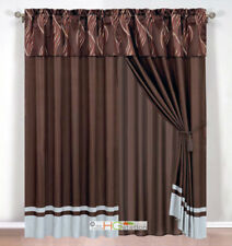 4-Pc Leaf Ribbon Scribble Jacquard Curtain Set Brown Gray Rust Valance Drape