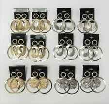 Wholesale Jewelry Lot 12 Pairs Large Dangle Earrings Gold & Silver w/Rhinestones