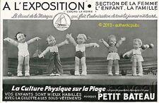 PUBLICITE PETIT BATEAU POUPEES SUR LA PLAGE D'APRES BEATRICE MALLET DE 1937 AD