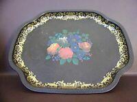 Vintage Mid-Century MTM Black & Gold Floral Tray (#12C032)