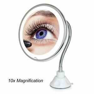 10X Gooseneck Magnifying Makeup Mirror Magnification Bathroom Mirror + LED Light