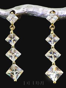 333 Gold Ohrstecker als Hänger mit Zirkonia Steinen 25mm Länge 1 Paar