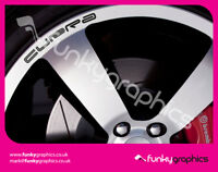 SEAT CUPRA CURVED LOGO ALLOY WHEEL DECALS STICKERS GRAPHICS x5 IN BLACK VINYL