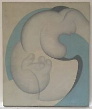 Lily Eleftheriou Huile sur toile signée 1977 art abstrait Abstraction Grec
