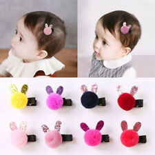 Lovely Baby Girls Rabbit Shaped Hair Clips Fashion Kids Girls Wool Ball Hairpin