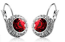 Austrian Crystal Jewellery Diamond Shine Silver & Red Circle Earrings E414