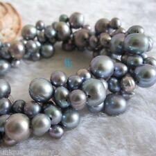 "8"" 4-9mm Dark Gray Freshwater Pearl Bracelet Pearl Jewelry"