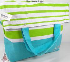 Aero Aeropostale XL Purse Bag Aqua Green Striped School Book Beach Tote NWT NR