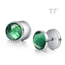 TT 10mm Surgical Steel Round Fake Ear Plug Earrings With Crystal(BE99)