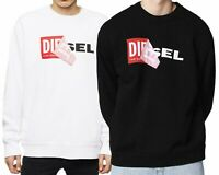 DIESEL MEN'S OVERSIZE SWEATSHIRT S-SAMY FELPA LONG SLEEVE C-NECK, Black & White